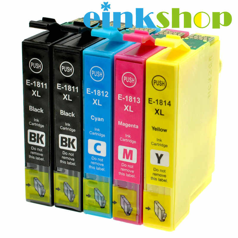 Einkshop 5 Stuks Voor EPSON T1811-T1814 Inkt Cartridge XP212 XP215 XP225 XP312 XP315 XP412 XP415 XP202 XP205 XP302 XP305 XP402 XP405