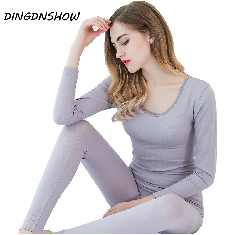[DINGDNSHOW] 2017 Thermal Underwear Warm Cotton Vertical Stripes Winters Modal Stretch Long Johns Women Shaped Underwear Sets