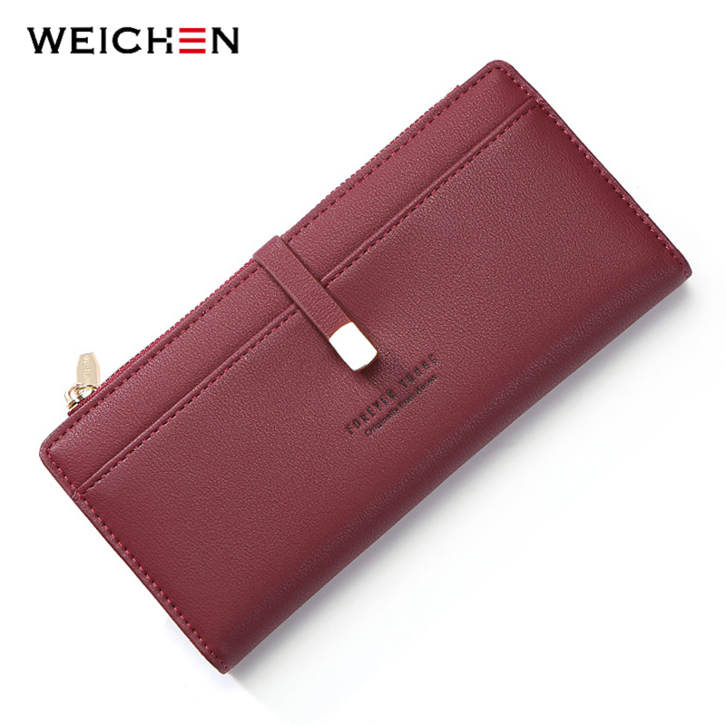 WEICHEN Wristband Women Wallets Red Coin Cell font b Phone b font Pocket Ladies Clasp Clutch