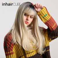 Inhair Cube 22Long Straight Hair Light Blond Brown Ombre Wig Heat Resistant Fiber Synthetic Wigs for Women + Free Wig Cap