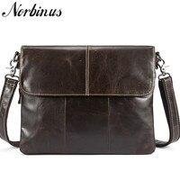 Norbinus Messenger Bag Men Genuine Leather Men's Shoulder Bags Male Casual Zipper Crossbody Bags Clutch bag for Men Handbags