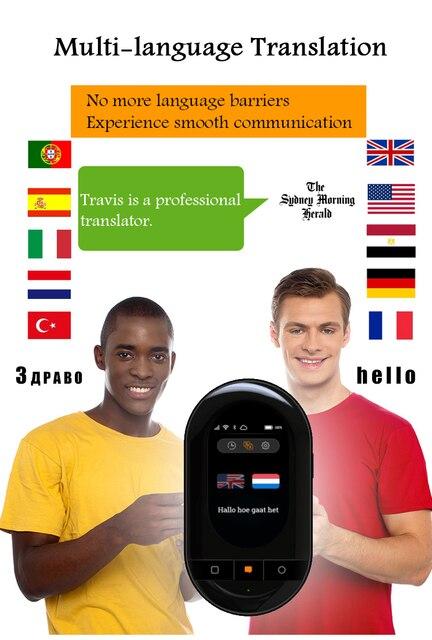 Traductor de voz de Travis 105 idiomas pantalla táctil sin conexión traducción en línea Wifi Bluetooth 4G traductor inteligente envío gratis