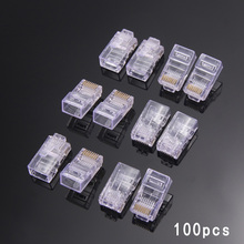 100pcs/lots New RJ45 Network 8P8C Modular Plug RJ45 Connector for Cat5, Cat5e, Cat6 Cable