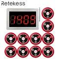 RETEKESS 999 канал RF Беспроводная кнопка вызова официанта системы для ресторана служебный пейджер система 1 хост приемника + 10 Кнопка вызова