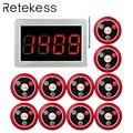 RETEKESS 999 canal RF sistema de llamadas de camarero inalámbrico para el sistema de búsqueda de servicio de restaurante 1 receptor Host + 10 botón de llamada