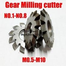 M0.5 M0.75 M1 M1.25 M2 M2.5 M3 M4-M10 Modulus PA20 градусов NO.1-NO.8 HSS зубчатая фреза режущие инструменты