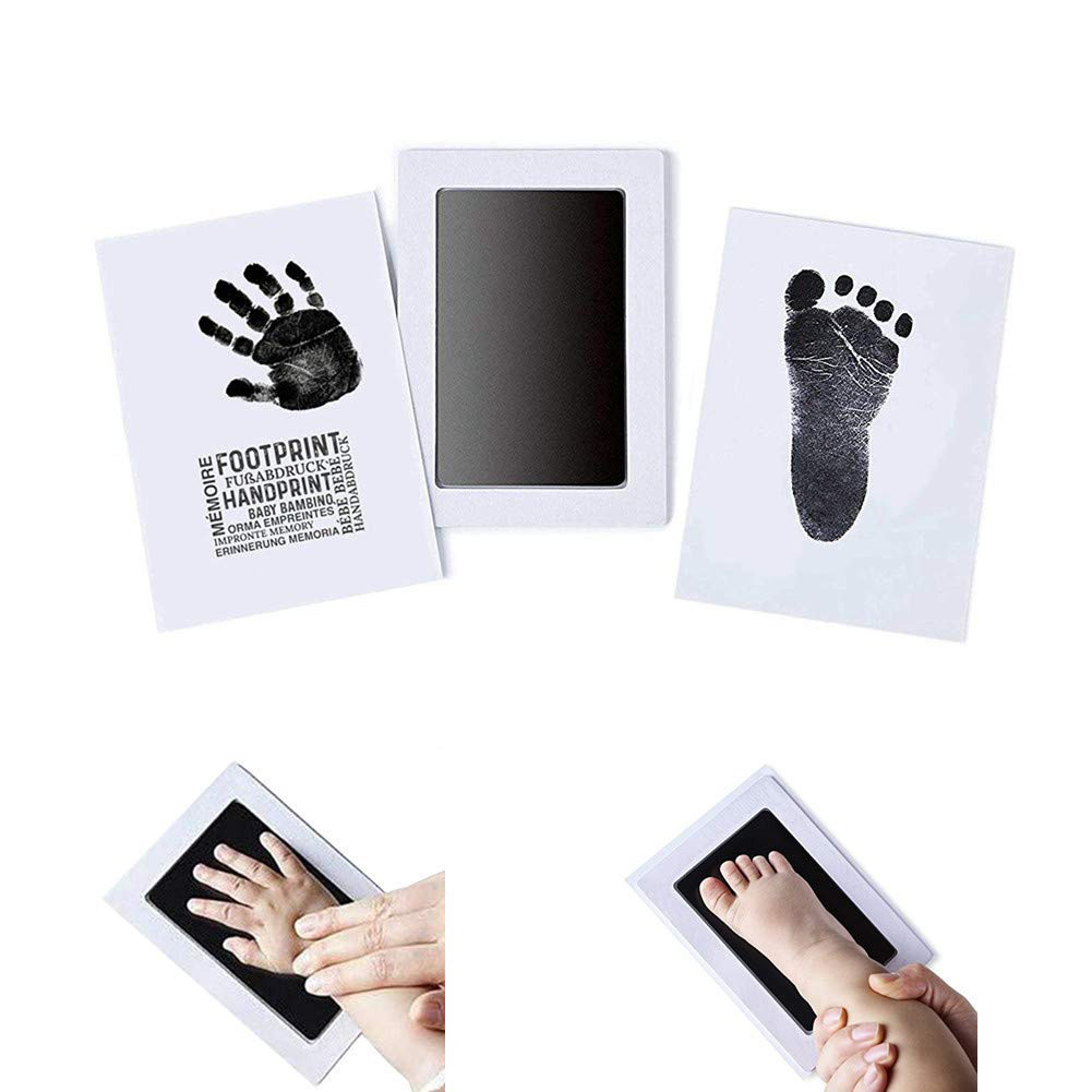 Safe Non-toxic Stamp Footprint Souvenir Inkless Newborn Mess Free Infant Handprint Ink Pad Imprint Cards Baby