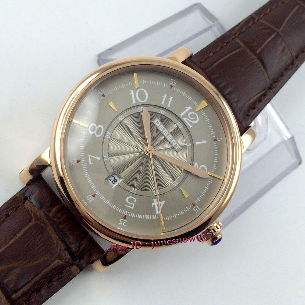 Luxury Debert 43mm grey dial golden case brown leather strap 5ATM MIYOTA 8215 movement Automatic Men's watch DE57 цена и фото