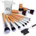 12 pcs Bamboo Handle pincéis de maquiagem ferramentas de cosméticos sombra delineador batom sobrancelha pente cosméticos maquiagem escova