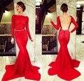 Vestido de baile vestidos de gala vestido de noche Backless atractivo abierto de espalda sirena del cordón rojo vestidos largos de baile elegante