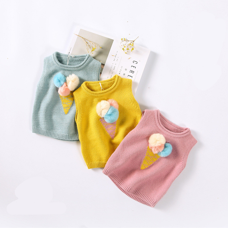 2017 Autumn New Arrived Pompom Girls Clothing Sweaters Infantil Kids Icecream Vest Girls Cute Cartoon Vest Coat Toddler Boutique