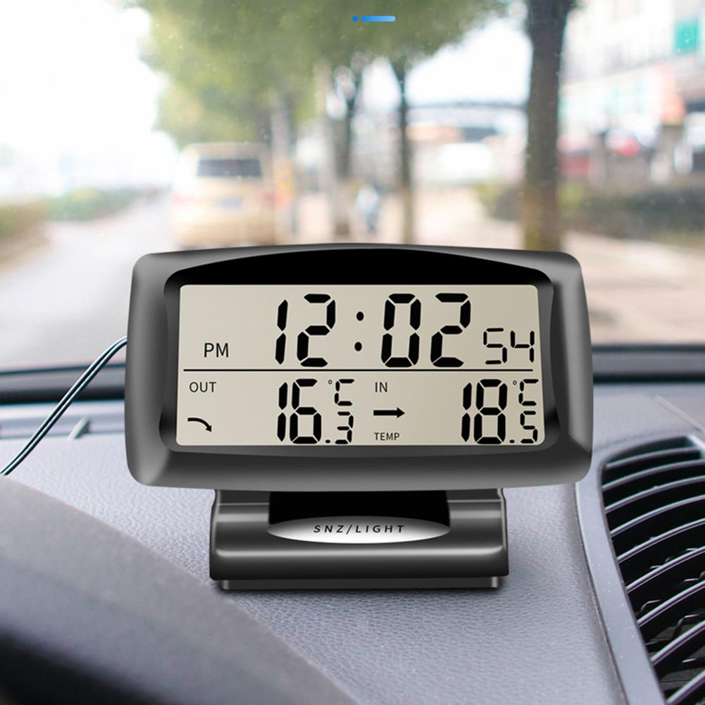 Car Temperature-Detector Electronic-Clock Luminous-Display Automotive Outdoor Two-In-One
