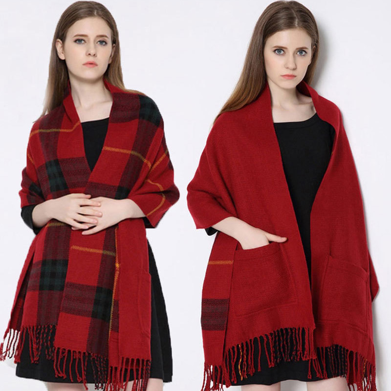blanket <font><b>Scarf</b></font> Plaid Women Winter fashionable Cashmere faced Multifunction Thicken Warm cape Shawl wrap Oversized 200cm sq318