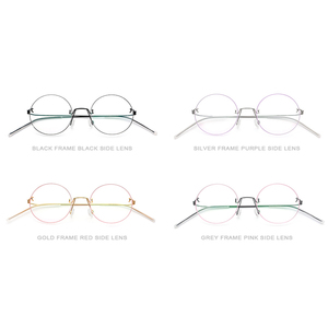 Image 5 - نظارات فونكس بدون مسامير وصفة طبية للنساء نظارات قصر النظر المستديرة البصرية الكورية سبائك التيتانيوم إطار نظارات الرجال 98620