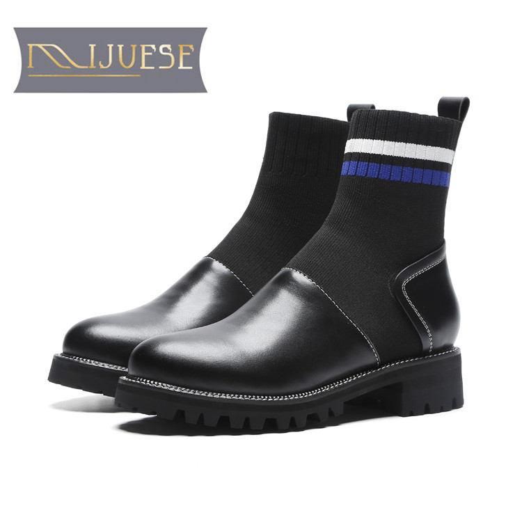 MLJUESE 2019 women ankle boots cow leather stretch fabric blue color autumn riding boots low heel women martin boots size 34-40 2015 autumn shiny piece fight color stretch fabric square head women s boots flat boots in europe and america tide personality