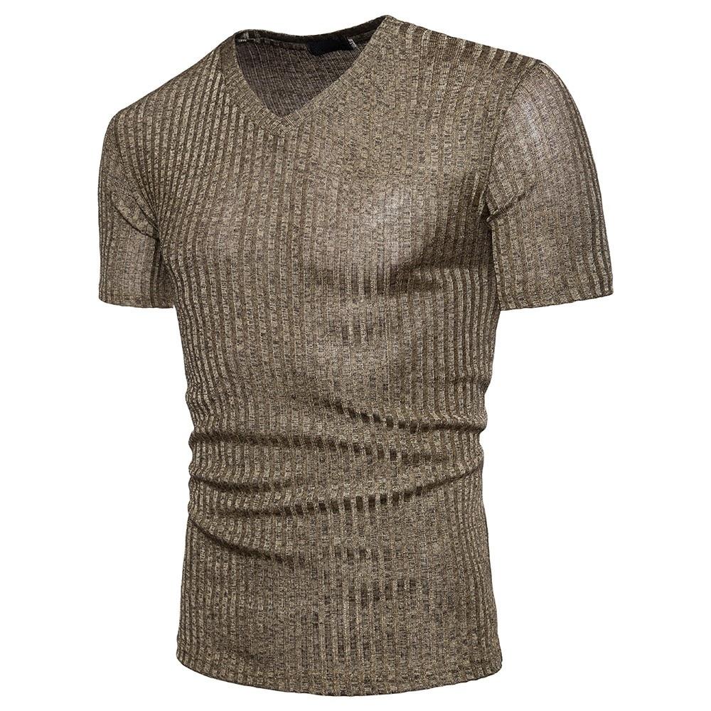 t shirt tshirt Men Tee Slim Fit Fashion Blouse Short Sleeve Fit Pollover Shirt V Neck Causal Top big size black cotton man F80