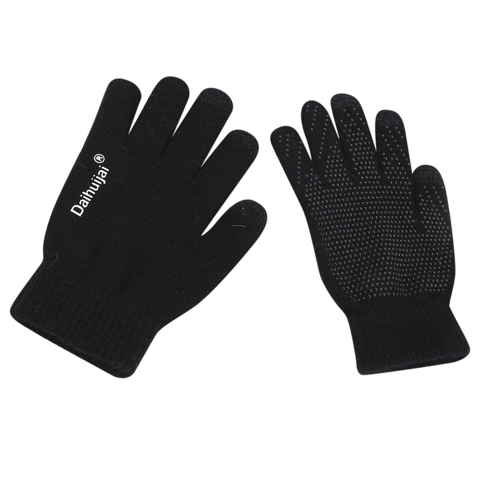 Handschuhe <font><b>Winter</b></font> Warme Touchscreen Schwarz <font><b>Winter</b></font> Handschuhe für Frauen Männer Guantes Stricken Wolle Gefüttert Sms Dame guantes invierno mujer image