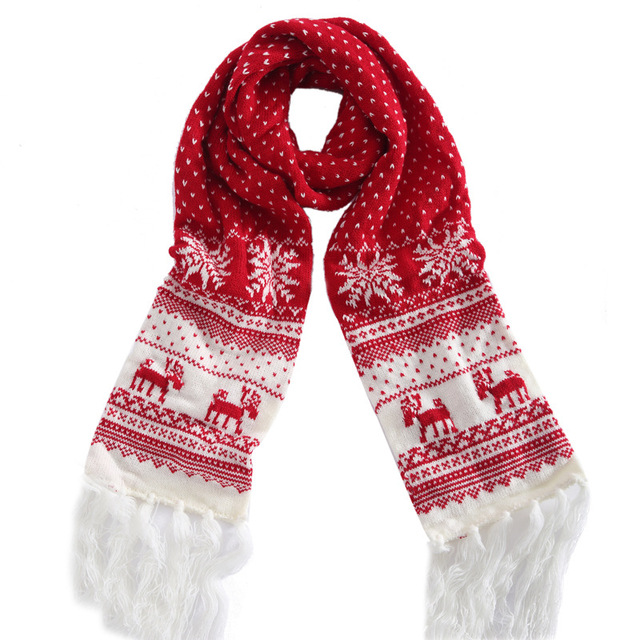 Christmas Scarf.Us 16 79 Sumeike Winter Thick Christmas Scarf Black Red Reindeer Shawls And Scarves For Couple Lovers Long Tassel Knitted Warm Scarves In Women S