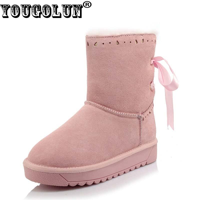 купить YOUGOLUN Women Snow Boots Russian Winter Genuine Cow Suede Nubuck Leather Flat Mid-Culf Boots Pink Bowknot Warm Fur Shoes #Y-247 недорого