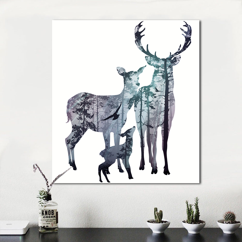 US $5 54 25% OFF|WANG ART Wall Art Pictures For Living Room Minimalism  Animal Painting Deer Family Modern Canvas Art Home Decor No Frame -in  Painting