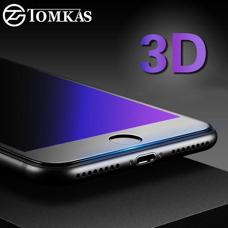 Tomkas 3D tvrzené sklo pro iPhone 7 6 6s Plus Anti Blue Light Screen Protector Celá krycí skleněná fólie pro iPhone 6 Ochranný