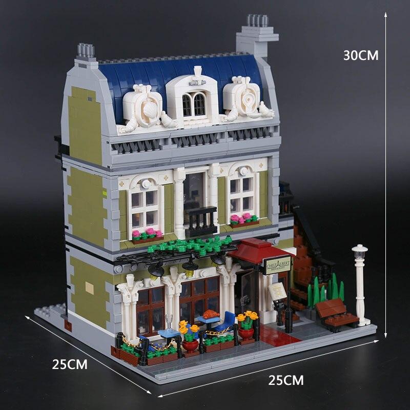الخالق الباريسي مطعم الشارع مدينة وحدات مجسم لمنزل اللبنات 15010 تجميع اللعب متوافق مع 10243-في حواجز من الألعاب والهوايات على  مجموعة 2