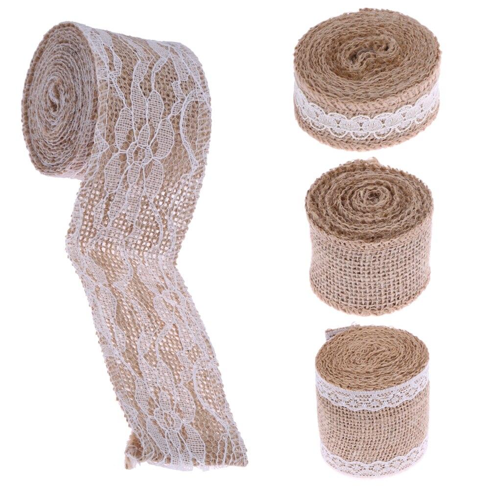 Natural Rustic Jute Burlap Hessian Ribbon Weddings Strap Floristry Craft 6cm