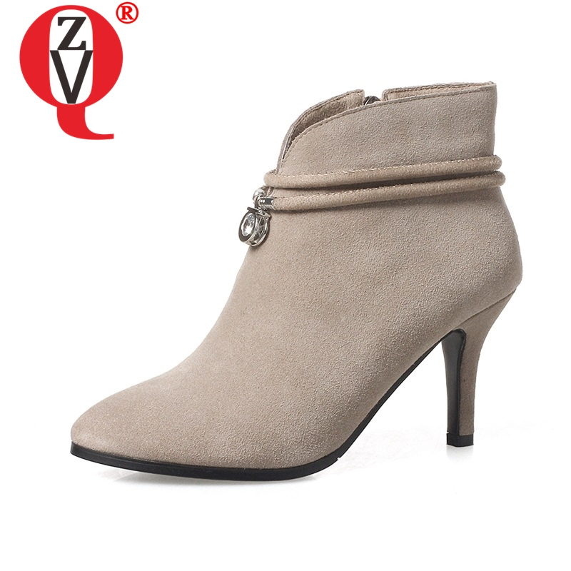 ZVQ large size 32 42 winter plush ankle boots women shoes 2019 work style 8 cm