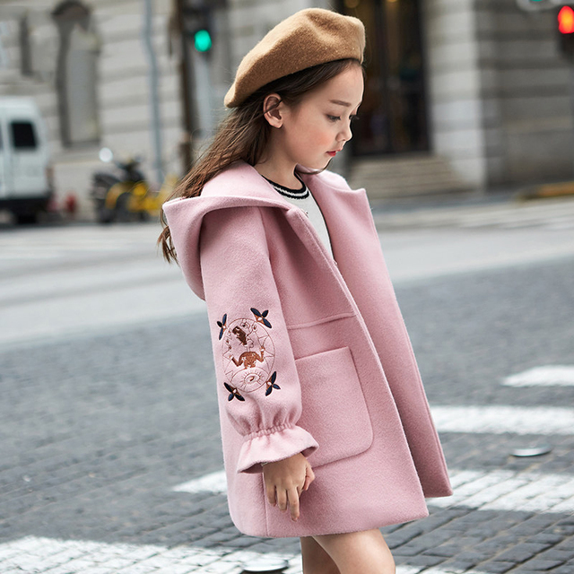 2018 Autumn Winter Girls Woolen Coat Pink Red Flores Design Petal Sleeves Long Jacket for Kids Age 8 10 12T Yrs Old windbreaker