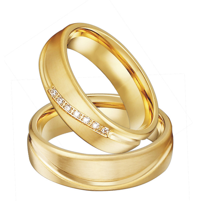 Gold color Wedding Band Promise Ring Men Alliances Jewelry eternity Anniversary Engagement Couple Rings for Women