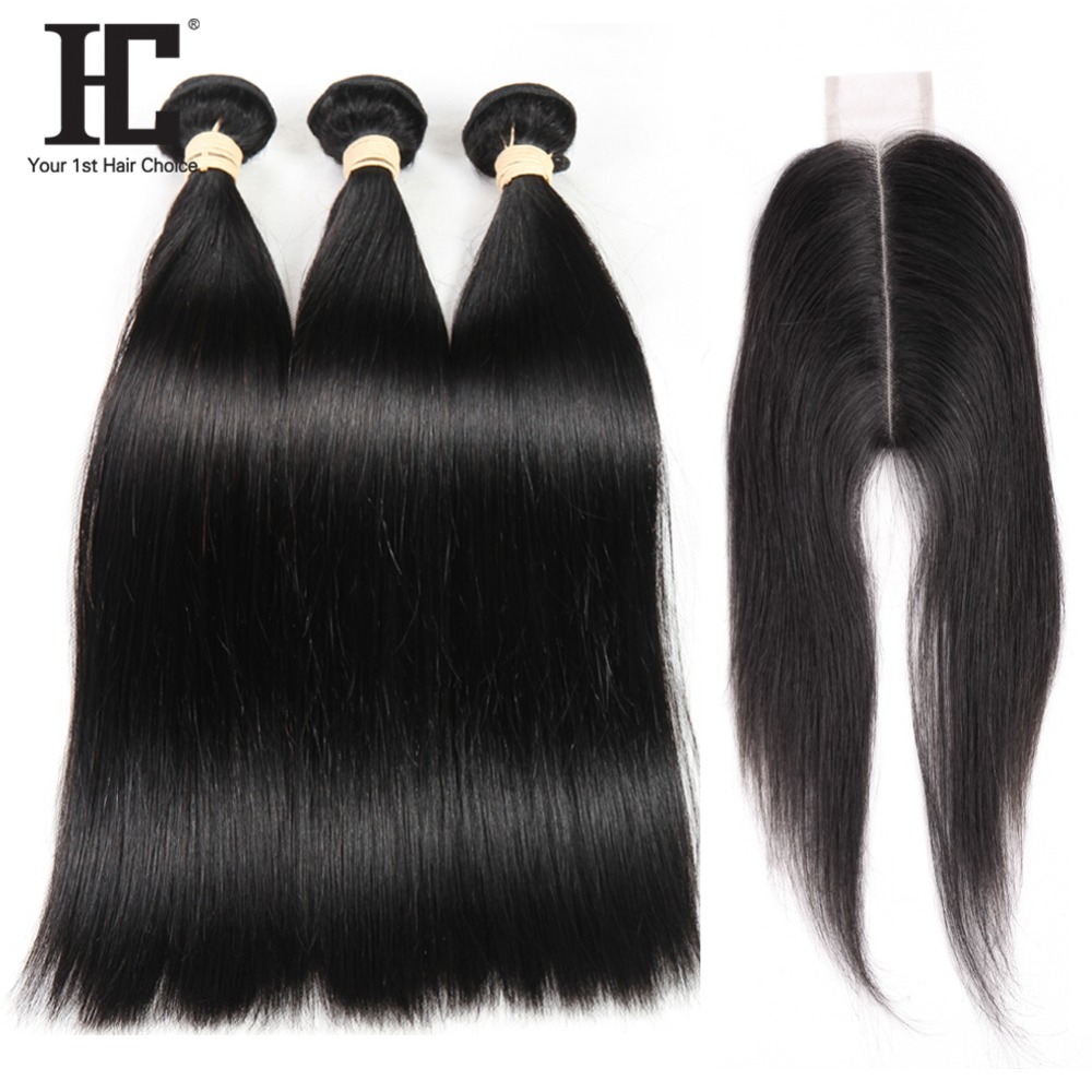 HC Straight Hair Bundles With Closure Peruvian Hair Weave Bundles With Closure 2x6 Non Remy Human Hair 3 Bundles With Closure