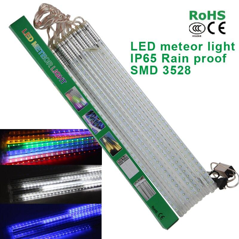 LED étanche lumières de noël 10 pièces/ensemble SMD2835 chute de neige Tube 50 cm météore pluie LED Tube lumière pour décoration de noël en plein air