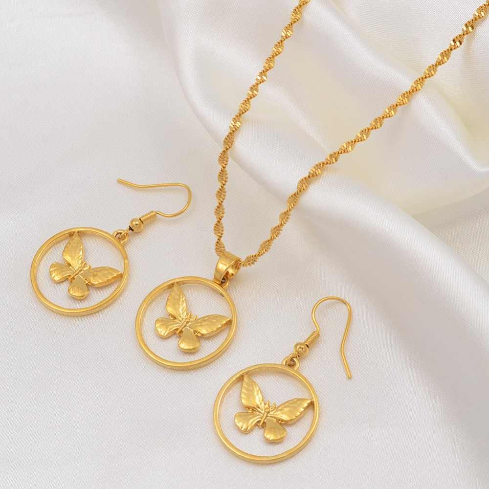 Anniyo Runde Schmetterling Anhänger Halsketten und Ohrringe für Frauen Mädchen Gold Farbe PNG Schmuck Hochzeit Sets Mädchen #015116