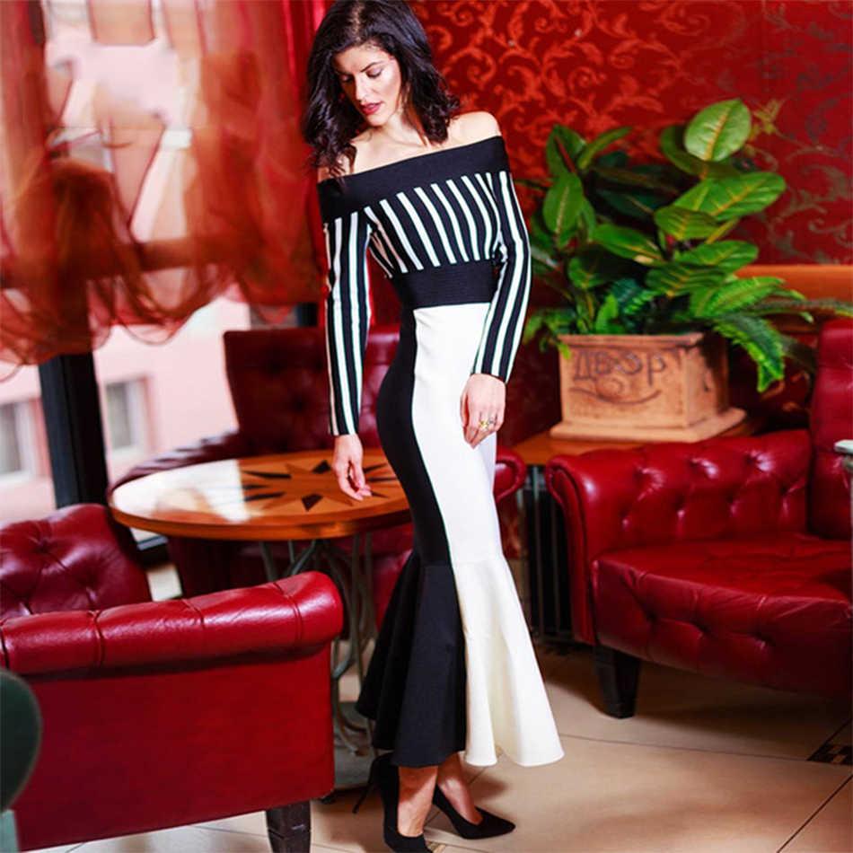 Новинка 2018, летнее Бандажное платье, женские вечерние платья знаменитостей, черные, белые, в стиле пэчворк, с длинным рукавом, с открытыми плечами, сексуальное, элегантное платье Vestidos