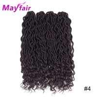 MAYFAIR 18inches 4packs Goddess Faux Locs Crochet Hair 70g/Pack Synthetic Ombre Braiding Hair Extensions Faux Locs Crochet Hair