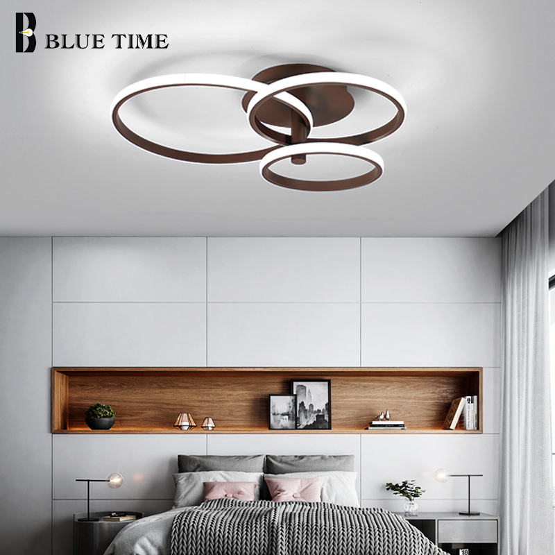 Coffee&White Body Circle Frame LED Ceiling Lights For Living Room Dining Room Bedroom Creative LED Ceiling Lamps Home Fixtures