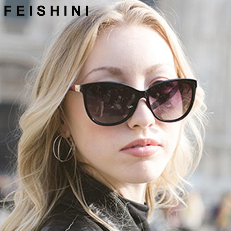 Окуляри сонцезахисних окулярів Feishini Luxury Polaroid UV400 Cat Elegant Checked Sexy Advanced Gradient сонцезахисні окуляри Жінки поляризовані Vintage