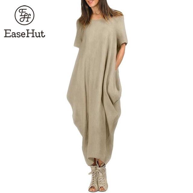 EaseHut Casual Women Maxi Dress O Neck Pocket Summer Asymmetric Baggy Plus Size 4XL 5XL Retro Long Dresses Loose Vestido Female