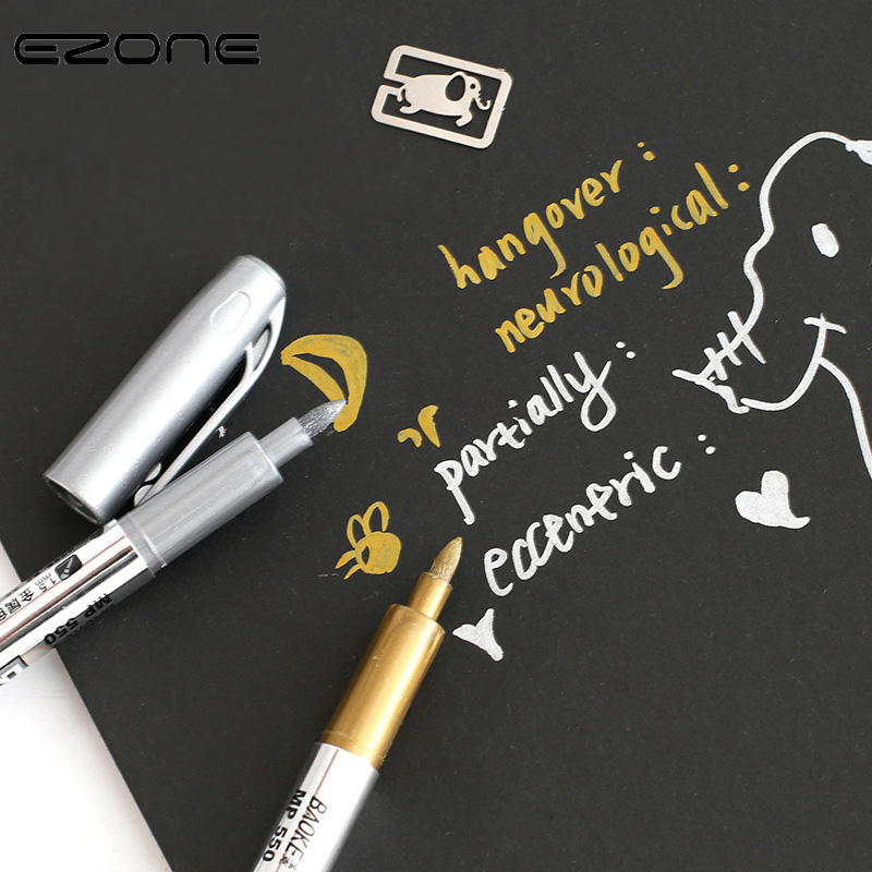 EZONE 1 PC Mark Pen Silver Gold Color Signature Creative  Highlighter For Painting Graffiti DIY School Office Art Supply