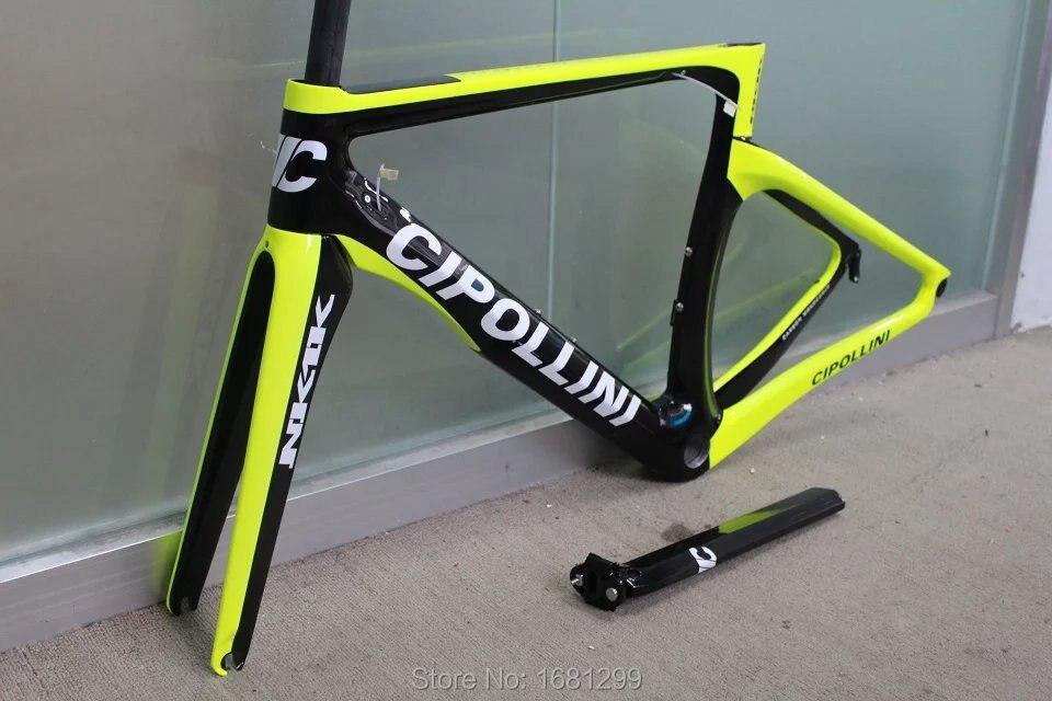 Nouveau vélo de route jaune fluo 700C mat 3 K cadre de vélo en fibre de carbone fourche en carbone + tige de selle + pince + casques pièces légères livraison gratuite