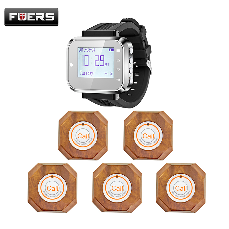 Wireless Waiter Wrist Pagers Service Calling System for hospital restaurant calling service Wireless Calling launch button wireless restaurant calling system 5pcs of waiter wrist watch pager w 20pcs of table buzzer for service