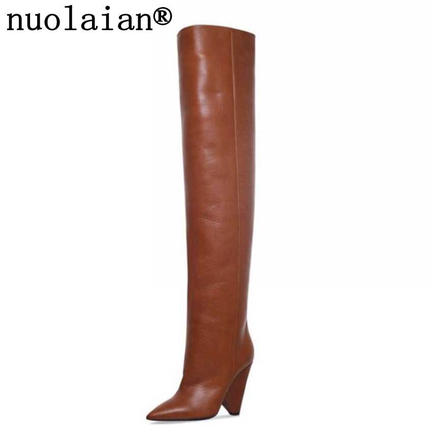 Women Thigh High Motorcycle Boots Black Leather Snow Boots Faux Fur Winter Boot Woman High Heel Shoes Ladies Over The Knee Shoe