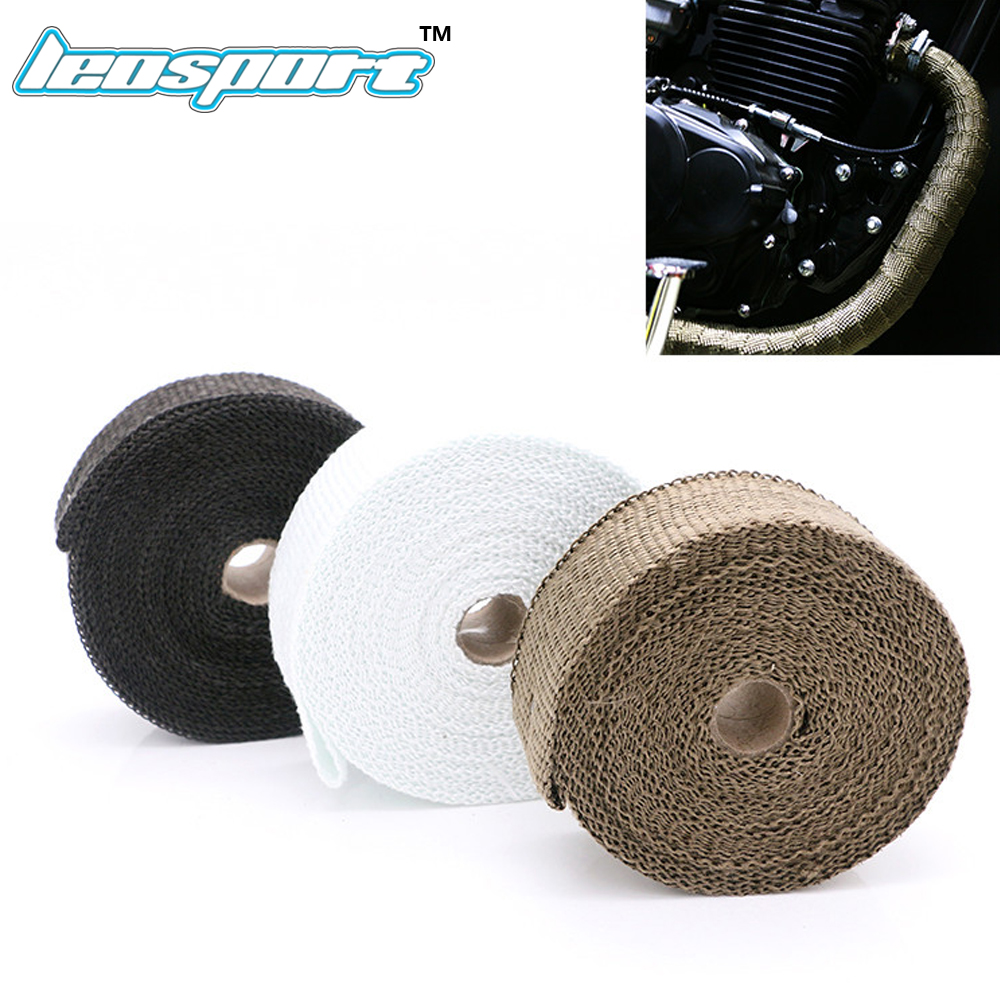 Leosport-Fiberglass Exhaust Protection Pipe Heat Header Insulation Tape Turbo Wrap 5M