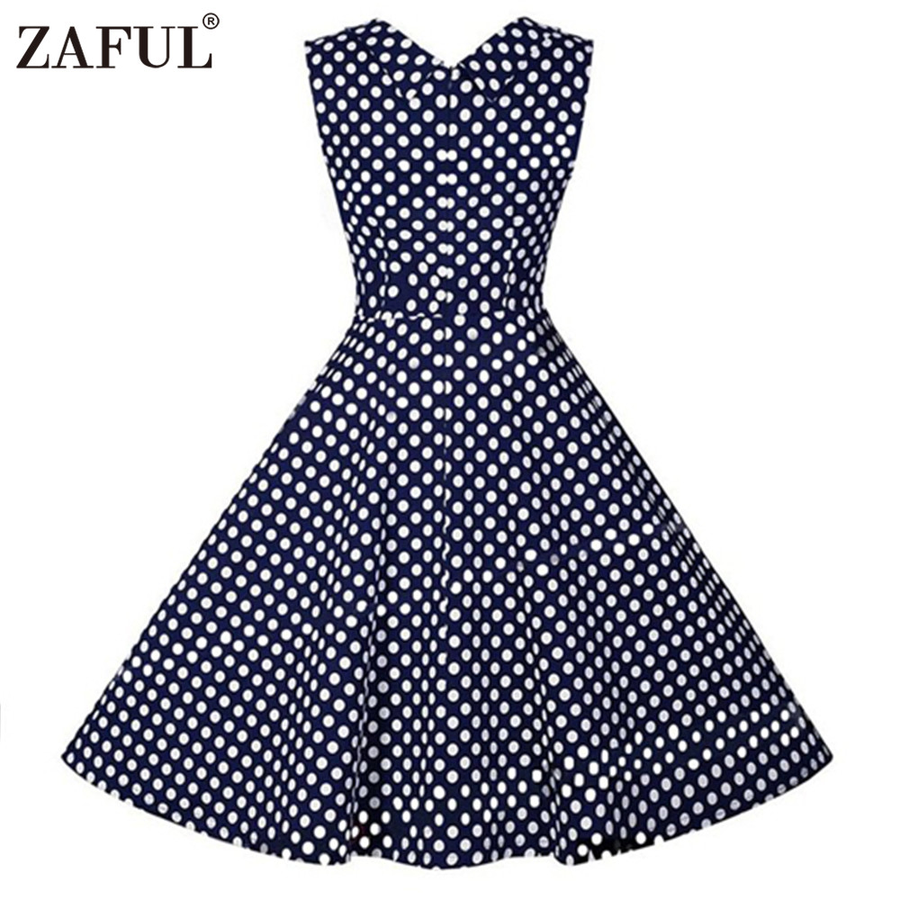 4f5c27574d70b Women Polka Dot Print Plus Size 3XL Summer 60s Vintage Dress Hepburn  Rockabilly Swing Party Feminino Vestidos Ball Gown-in Dresses from Women s  Clothing on ...