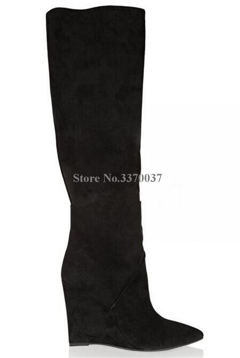 Frauen Mode Design Spitz Wildleder Leder Knie Hohe Keil Stiefel Winter Charming Super High Heel Keil Lange Stiefel - 5