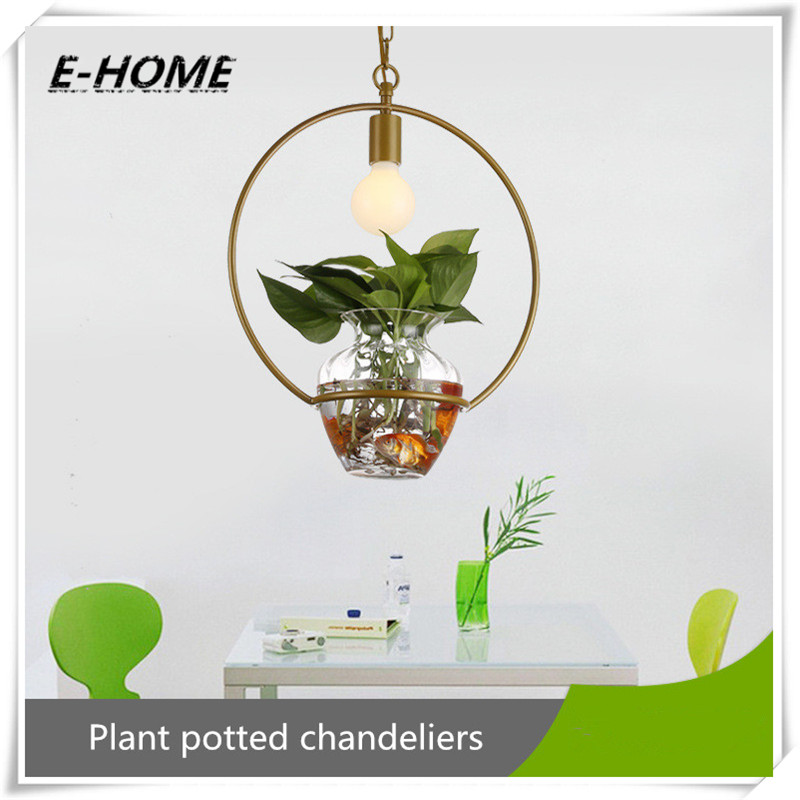 купить Pastoral Glass Flower Pot Iron Art Plant Potted Suitable for Terrace Restaurant Bar. led Chandelier, chandelier недорого