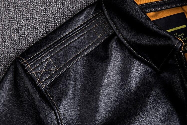 HTB1 8 SXoLrK1Rjy1zbq6AenFXaa MAPLESTEED Men Leather Jacket Military Pilot Jackets Air Force Flight A2 Jacket Black Brown 100% Calf Skin Coat Autumn 4XL M154