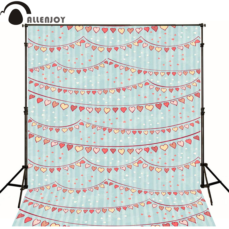 Allenjoy Photographic background Heart banner blue stripes newborn vinyl backdrops cute princess baby shower camera fotografica недорого