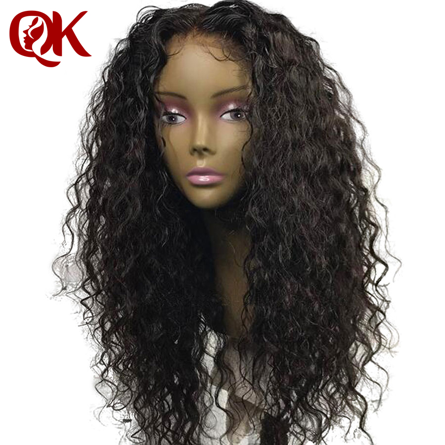 QueenKing Hair 360 Lace Frontal Wig For Women Black Color Brazilian Remy Curly Lace Front Human Hair Wigs Natural Hair line