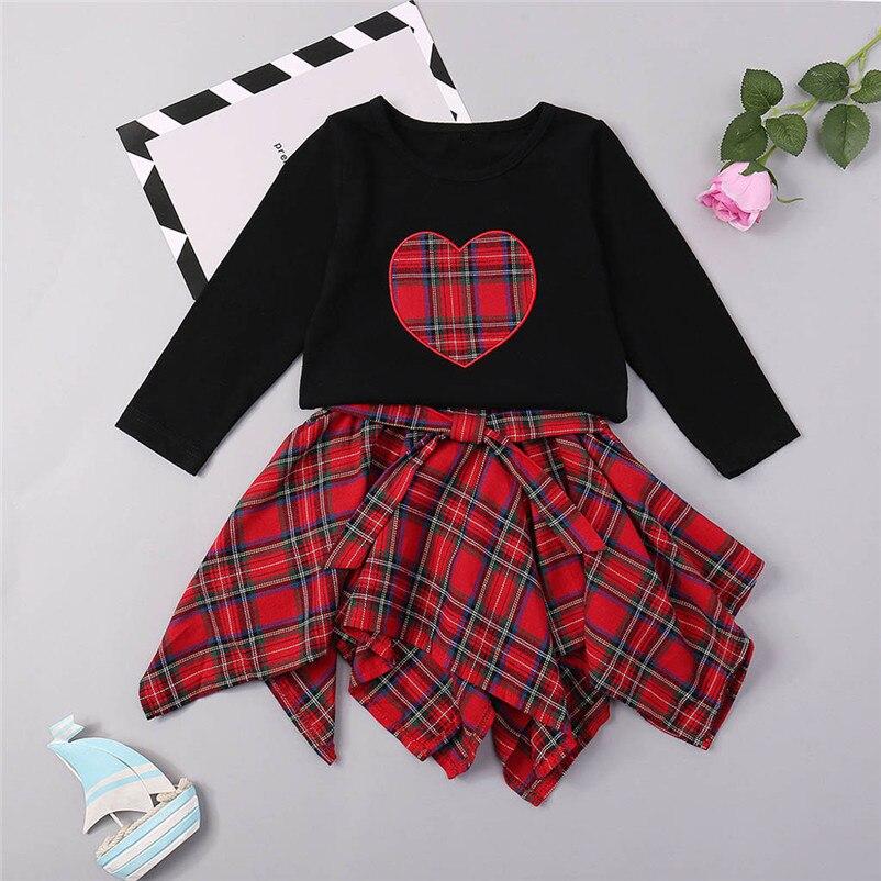 Forceful 6m-3t Baby Girl Cartoon Plaid Dress Set Lovely Heart Plaid Print Top Sweet Children Clothing Set Cool Conjunto Menina #f#4no28 Clothing Sets Girls' Clothing